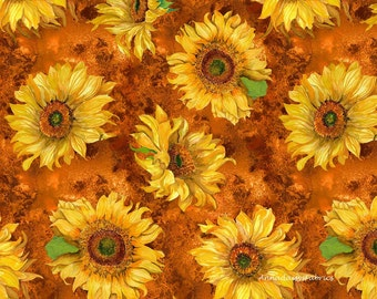 Sunflower Quilt Fabric, Slice of Sunshine, Wilmington Print 79255-855, Yellow Sunflower Fabric, Sunflower Quilt Fabric, Yellow Floral Cotton