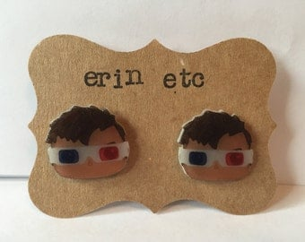 Handmade Plastic Fandom Earrings - Dr. Who - 10th Doctor 3D Glasses (Limited Edition)