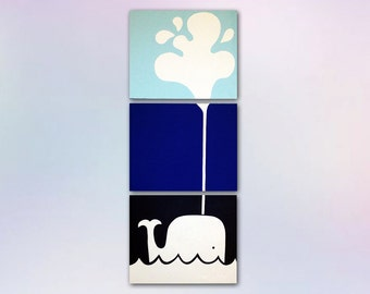 16x20 3 Canvas Custom Painting for a Nursery of Whale & Spout