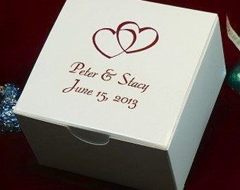Personalized White Candy Treat Favor Box 3x3x2