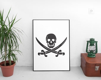 Pirate Print Instant Download Ahoy! Nursery Nautical Decor Pirate Hat Pirate Sword Beach House Decor Teal Nursery Flag Children's