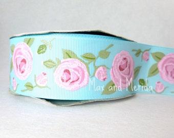 US Designer Ribbon - Aqua Cottage Rose Ribbon - Vintage Rose Ribbon- Rustic Rose - Glitter Print Ribbon - Bow Making Supplies - Dog Collar