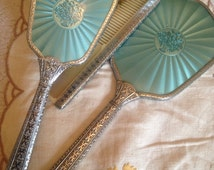 1950s Vintage Vanity Set, Turquoise Brush and Comb Set with Silver Effect Handle