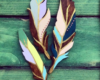 Hand painted wooden feathers, home decor, unique gift