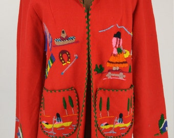 Vintage 1950s Hand Embroidered Mexican Motif Red Wool Jacket