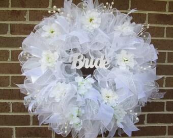 Bridal Wreath, Bridal Shower Wreath, Wedding Shower Wreath, Wedding Door Wreath, Mesh Wedding Wreath, Mesh Bridal Wreath