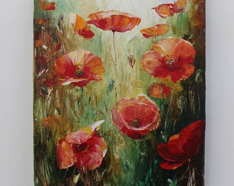 Hand painted poppies , oil painting