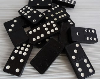 Vintage Dominoes . Club Dominoes . Double Nine . 55 Pieces . 1970 . Wooden . Jewelry Making . Altered Art . Repurpose Projectse