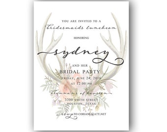 Water Colored Antler/Floral Bridesmaids Luncheon Invitation