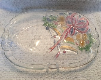 Mikasa Festive Bells Glass Oval Serving Dish Plate, Festive Bells Plate, Chistmas Bells and Greens, Holly Pinecones, Colored Glass Design