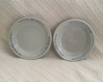 Blue on White Berry Bowls, Sauce Bowls, Off White Porcelain with Blue Scrolled Design, Small Bowls, Pair of Bowls