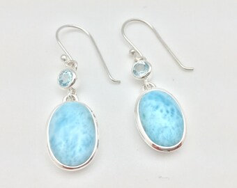 Larimar Blue Topaz Earrings // 925 Sterling Silver // Oval Setting // Hook Wires // Baby Blue Larimar Earrings // Oval Larimar Earrings