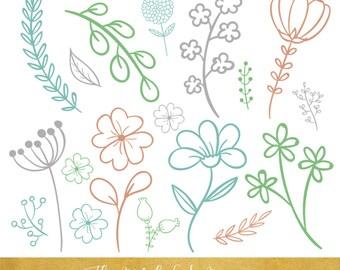 Floral Line Art Clipart Set - INSTANT DOWNLOAD - 80 .PNG Images