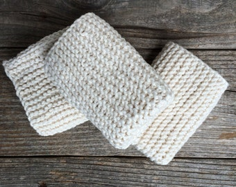 3 Cream Colored Face Cloths, 100% cotton, hand knit, made in the USA