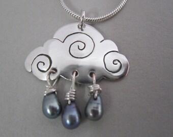 Cloud necklace, silver cloud necklace, rain cloud necklace , cloud and raindrops, weather necklace, cloud pendant