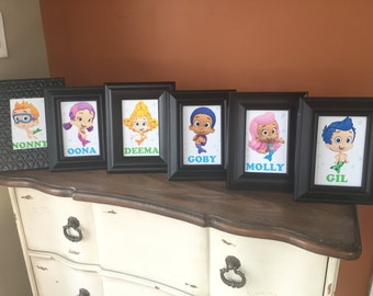 Bubble Guppies Character Cards / Table Cards / Party Decorations (Gil, Molly, Gobby, Deema, Oona, Nonny, Mr Grouper, Bubble Puppy)