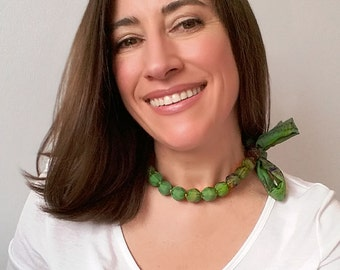 Forest green statement necklace fabric covered, silk ribbon cloth bead necklace, fern green jewellery, unique handmade jewelry textile gifts