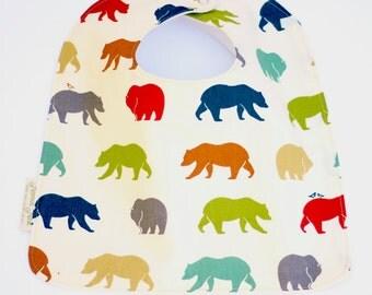 Modern Bear Bib, Organic Baby Bib in Bear Hike, Forest Bib, Toddler Bear Bib, Feeding Bib, Baby Girl Bib, Baby Boy Bib, Adjustable Baby Bib