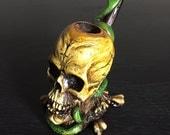Skull w/ Snake Smoke Pipe - Handmade