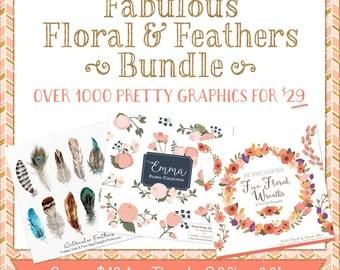 Fabulous Floral & Feathers Clipart Digital Paper Bundle - Flowers clipart, feathers clipart, graphic bundle, clipart bundle, vectors