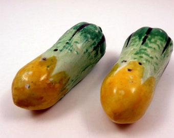Vintage Veggie Green Yellow Squash Salt Pepper Shakers