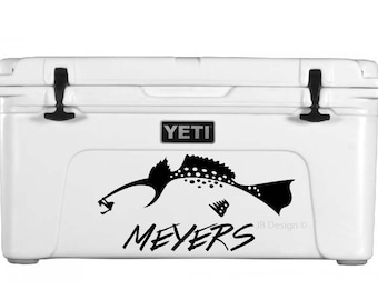Trout Decal FOR YETI Cooler or Similar - Custom Text Included