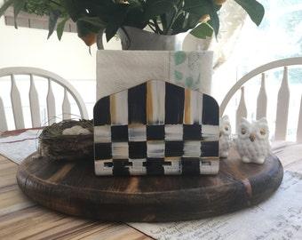 Hand painted Black and White checkered bamboo Napkin Holder