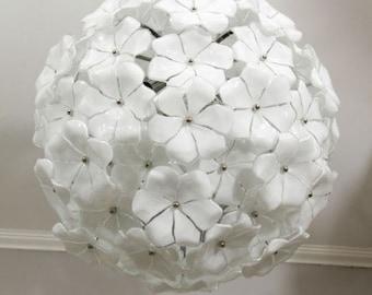 White Murano glass Lotus chandelier