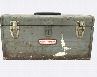 Vintage Craftsman Toolbox / Old Rusty Storage for Tools / Guy Stuff to Repurpose / Man Cave Decor / Metal Tool Box