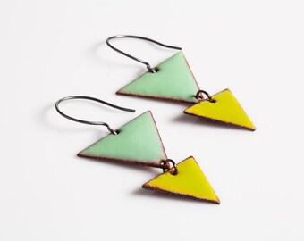 Marywynn Triangle Earrings - Enamel on copper