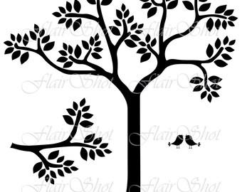 Digital Tree Clip Art, Vector Tree Clipart, Bird Clipart, Branch Clipart, INSTANT DOWNLOAD