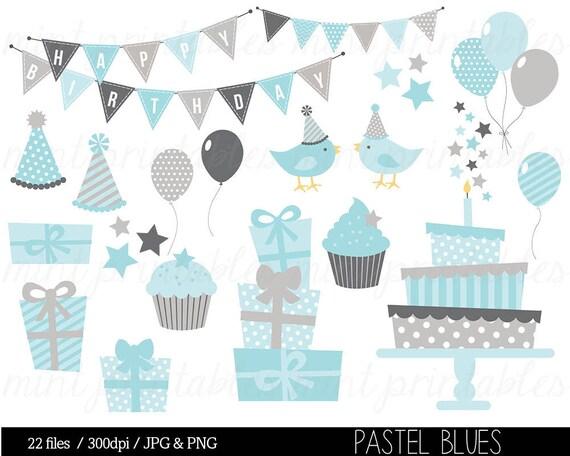 Boy Birthday Clipart Blue Grey Birthday Digital Clip Art