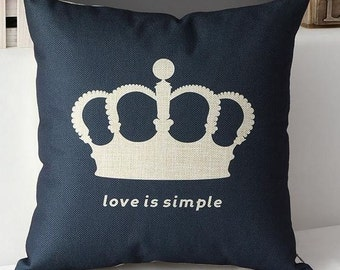 Love is Simple - on Black - Pillow Cover
