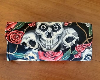 Skull and Rose Clutch purse