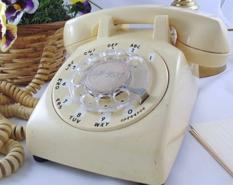 Vintage White Working Rotary Dial Desk Phone Retro White Rotary Dial Table Phone Mid Century Office Phone Photo Movie Prop