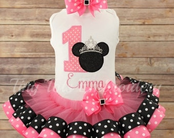 Princess Minnie Birthday Tutu Outfit ~ Includes Top, Ribbon Tutu and Hair Bow ~ Customize in Any Colors of Your Choice!
