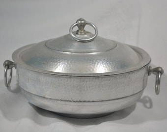 Vintage 1950s Hammered Aluminum Casserole Dish with Lid