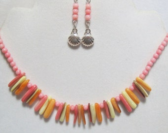 Coral and Shell Necklace Earring Set Summer Combo