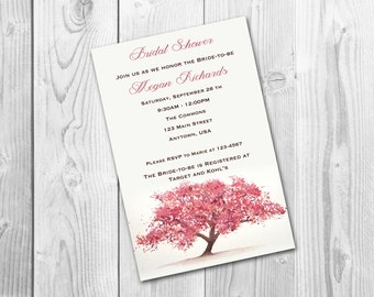 Cherry Blossom Bridal or Baby Shower/Wedding Invitation, printable DIY