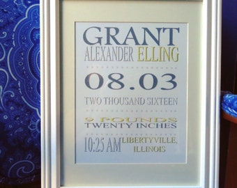 Traditional Font- Framed Birth Announcement