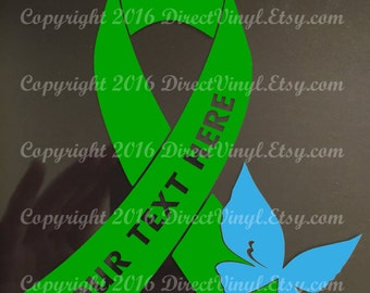 YOU CHOOSE BUTTERFLY Green Awareness Ribbon Window Decal (cerebral palsy, brain injury, celiac disease, lyme disease)
