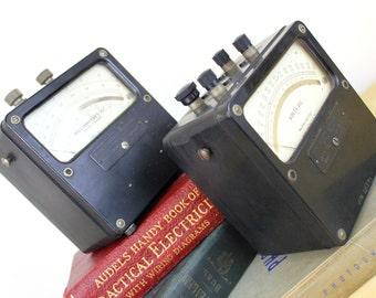 Vintage Weston Volt Meter Bookends Glass Needle Output Gauge Steampunk Electrical Science Test Mantique
