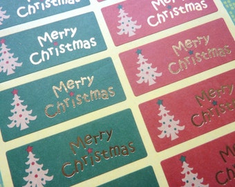 Red Green and Gold Merry Christmas Stickers Xmas
