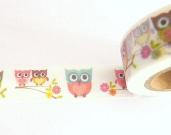 Cute Owls Washi Tape 15mm x 10m