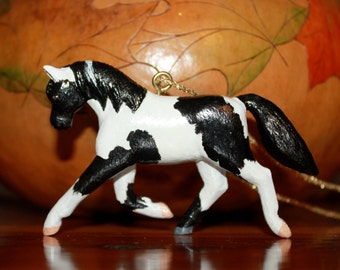 """Prancing Flashy Paint Horse necklace! Black and White. Approx. 2.5"""" tall and 3.5"""" long. Hang from rearveiw mirror or Christmas tree. OOAK!"""