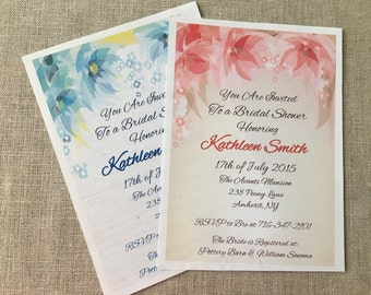 CUSTOM SHOWER INVITATION Rustic Flowers Burlap Blue Pink