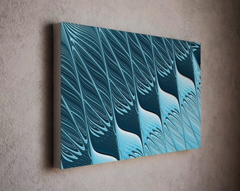 Stylish blue modern art - jeans blue tones / modern wall canvas