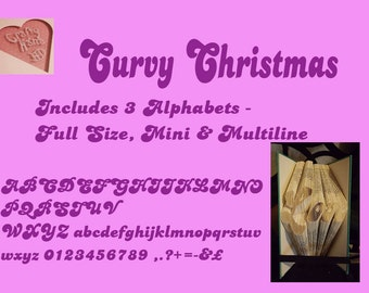 Book Folding Pattern Alphabet 23 Curvy Christmas - Includes Full Size Alphabet, Mini Alphabet and Multiline Alphabet -PDF - Instant Download