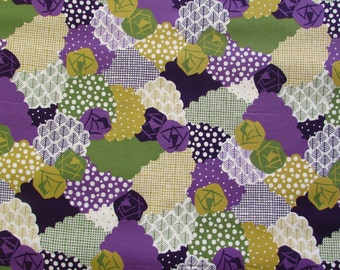 15% OFF - Flower Patch Green & Purple - Irome by Kokka Cotton Fabric Fat Quarter