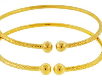 Baby Solid Sterling Silver West-Indian Bangle Set Plated